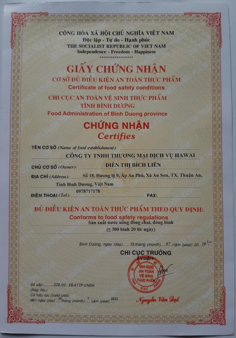 Giấy chứng nhân Certificate
